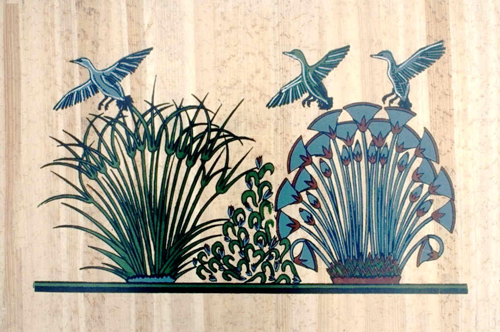 Papyrus Plant Drawing to The Right Ducks Papyrus